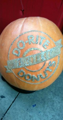 Pumpkin outside of Do-Rite Donuts